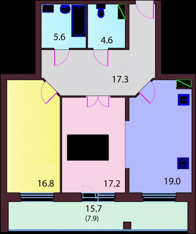 Двухкомнатная квартира в ЖК Актёрский Олимп, Выборгский район