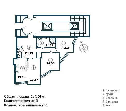 Трёхкомнатная квартира Константиновский пр д 23 ЖК Диадема 134,6 метра)