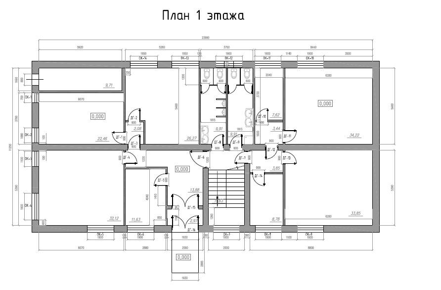Планировка офисов: 1 этаж