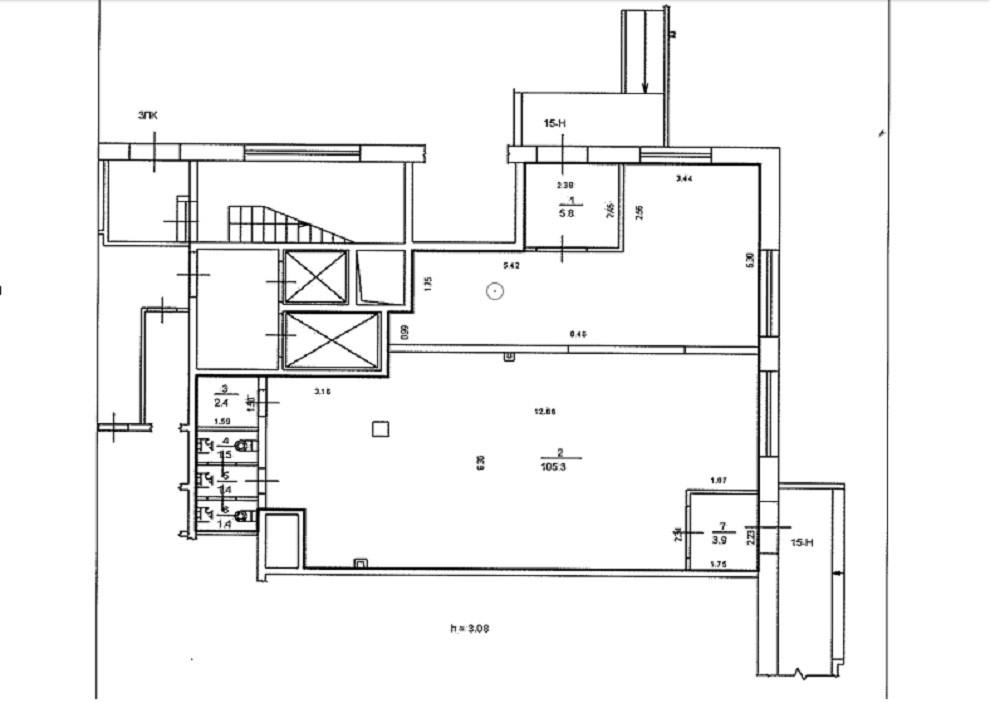 План помещения S = 121,7 кв.м.