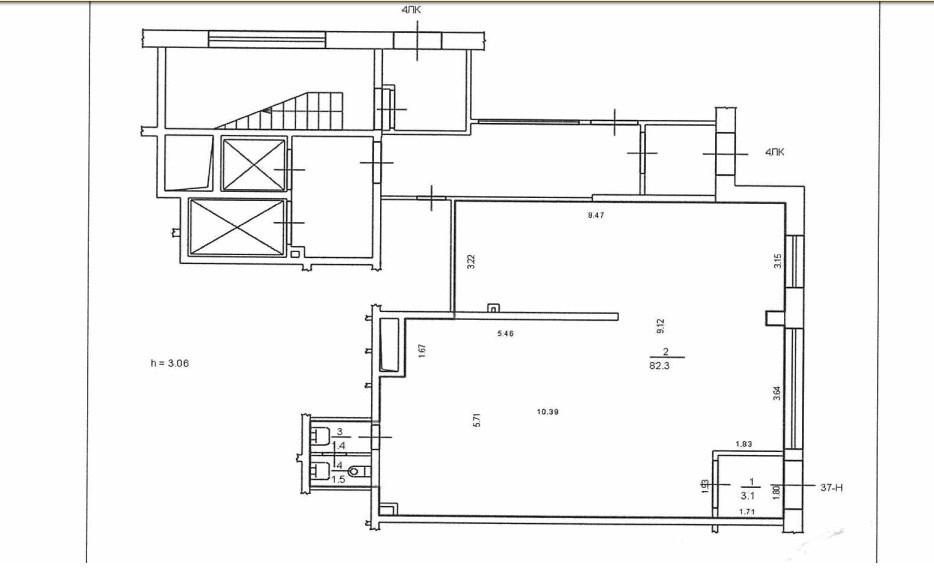 План помещения S = 88,3 кв.м.