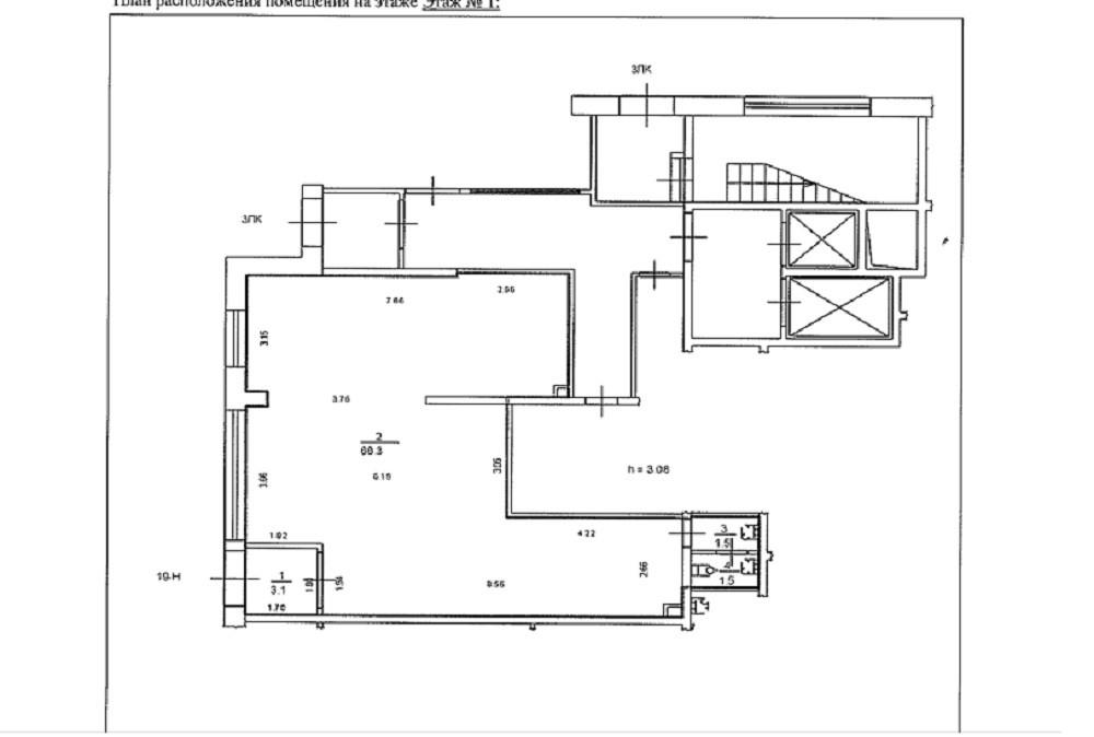 План помещения S = 74,4 кв.м.