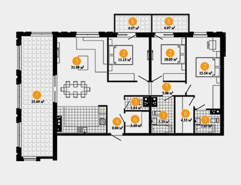 Трёхкомнатная квартира в ЖК Дом на Фрунзенской ул Парфеновская д4