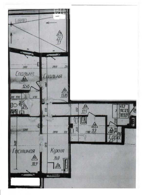 Трёхкомнатная квартира на 17 линиид14