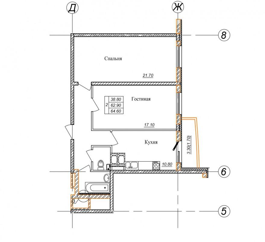 Продажа двухкомнатной квартиры ЖК Парголово 26