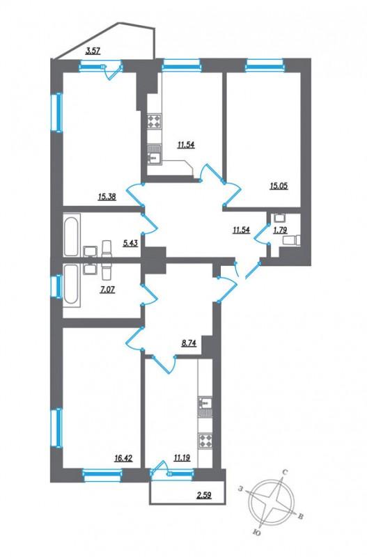 Трёхкомнатная квартира на пр Космонавтов д63 в ЖК Гранд Фамилия