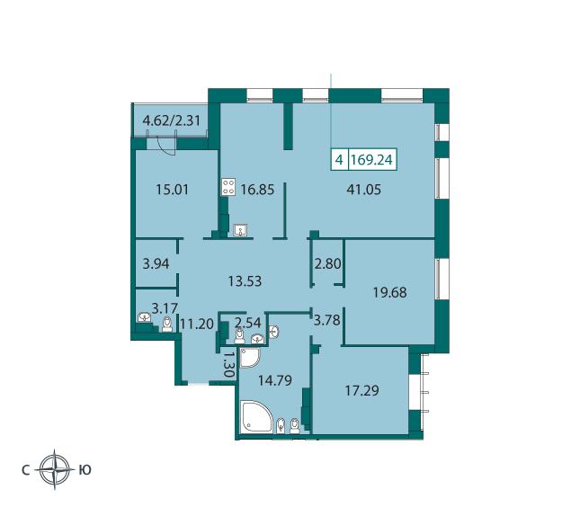 Четырёхкомнатная квартира на Смольного ул д4