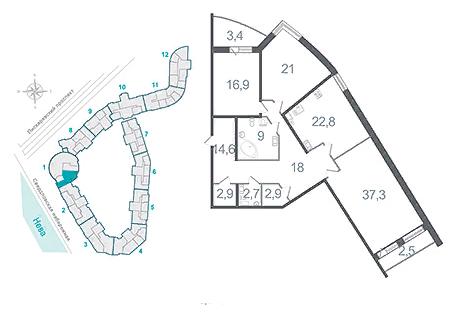 Трёххкомнатная квартира в Красногвардейском районе на Свердловской наб д 54-58 в ЖК Платинум